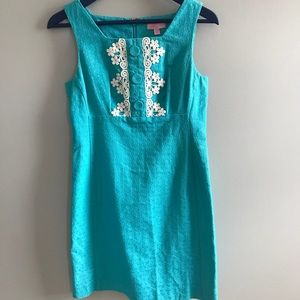 Lilly Pulitzer blue shift dress with lace detail